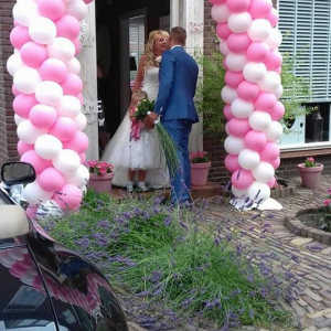 roze en wit ballonnenboog