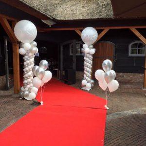ballonpilaren zilver en wit met topballon regio utrecht bij evenementen