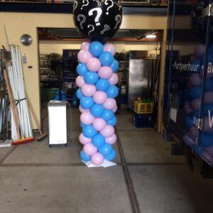 Gender reveal ballon pilaar
