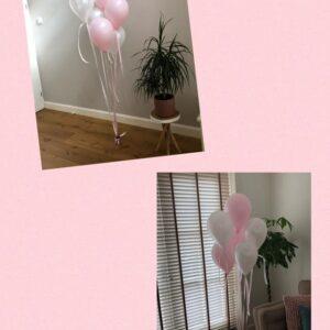 helium ballonnen tros roze wit