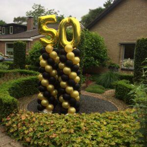 ballonpilaar zwart en goud met cijfer